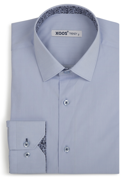 XOOS Men's light blue shirt floral lining
