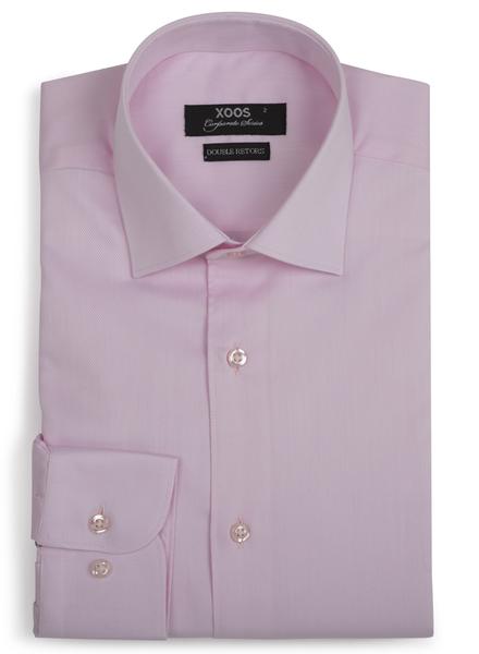 XOOS Chemise homme rose en coton tissé - Corporate Series (Double Retors)