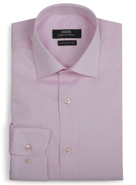 XOOS Men's pink woven cotton dress shirt (Double Twisted)