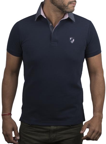 XOOS Navy polo shirt for men pink polka dots lining