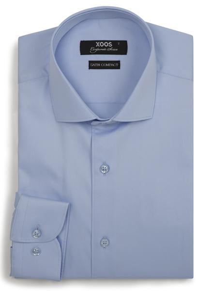 XOOS Men's plain light blue dress shirt