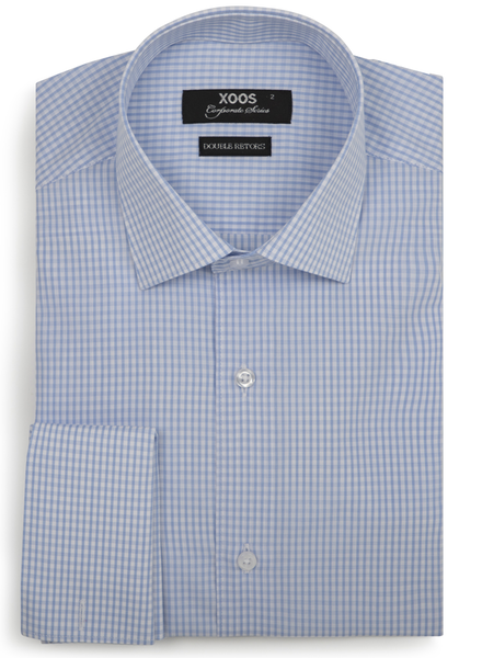XOOS Men's blue micro checks fitted dress shirt and french cuffs (Double Twisted)
