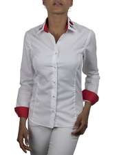 XOOS WOMEN'S white shirt with collar embroideries