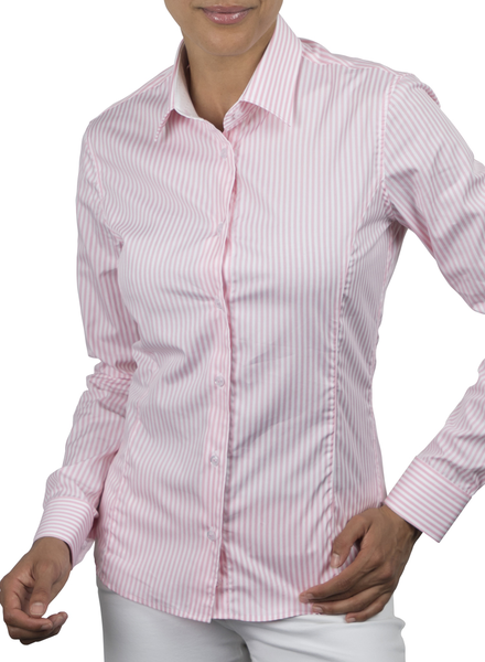 XOOS WOMEN'S pink striped dress-shirt (white jacquard lining)