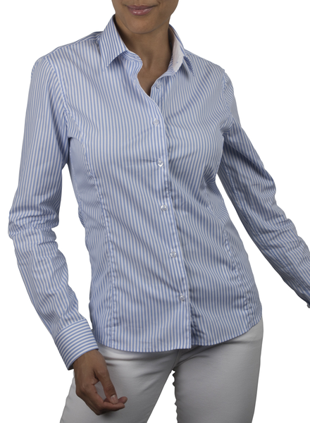 XOOS WOMEN'S light blue striped dress-shirt (white jacquard lining)