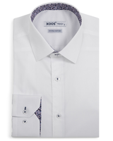 XOOS Men's white dress shirt navy & pink floral lining (Double Twisted)