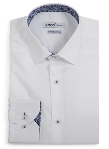 XOOS Men's white dress shirt navy & blue floral lining (Double Twisted)