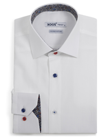 XOOS Men's white dress shirt red & blue floral lining and colored buttons (Double Twisted)