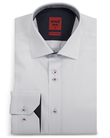 XOOS Men's white fitted shirt and navy patterned lining