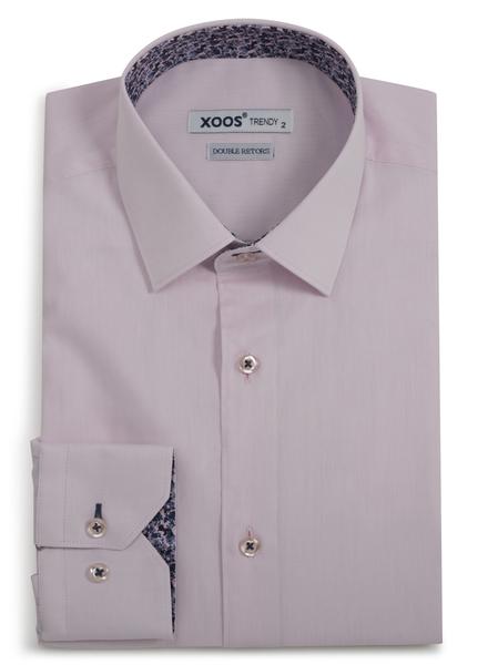 XOOS Chemise homme rose pâle doublure en imprimé fleuri bleu et rose (Double Retors)