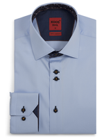 XOOS Men's blue fitted shirt and navy floral lining