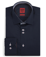 XOOS Men's navy blue fitted shirt and light blue floral lining