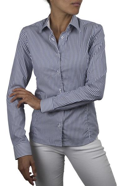 XOOS Chemisier femme bleu marine à rayures doublure jacquard blanc