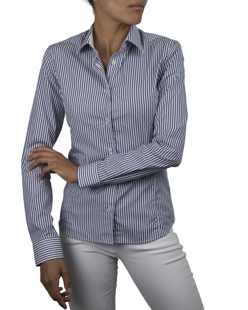 XOOS WOMEN'S navy striped dress-shirt (white jacquard lining)