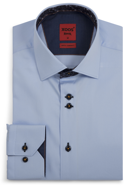 XOOS Men's CLASSIC-FIT blue shirt and navy floral lining