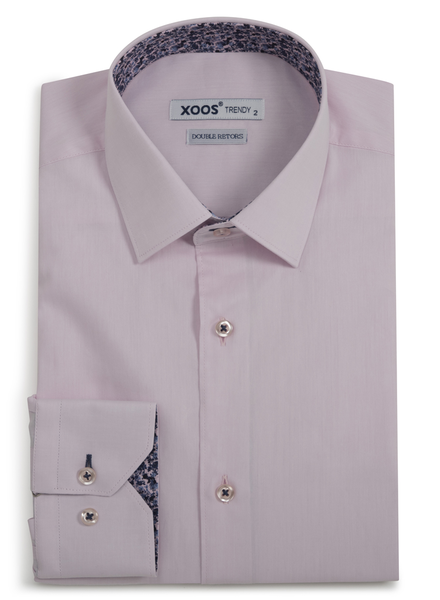 XOOS Men's CLASSIC-FIT pink dress shirt pink & blue floral lining (Double Twisted)