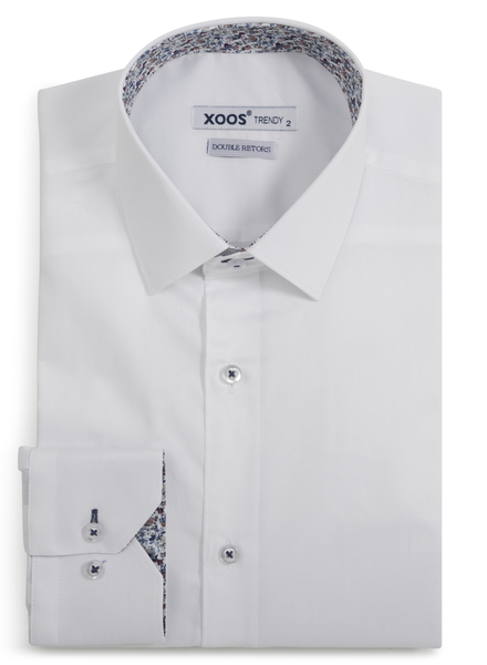 XOOS Men's CLASSIC-FIT white dress shirt blue & burgundy floral lining (Double Twisted)