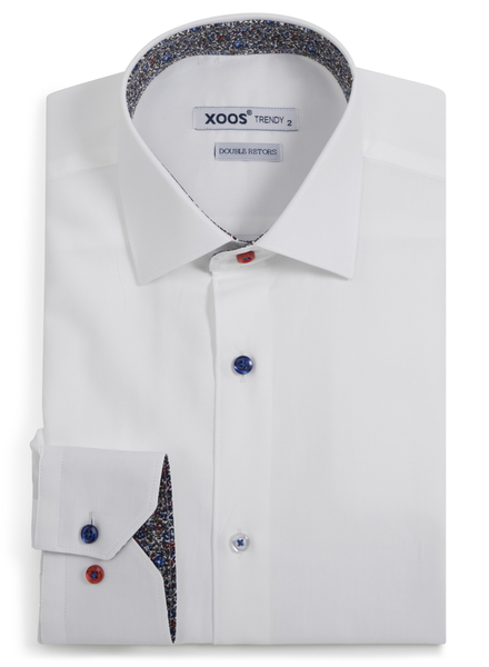 XOOS Men's CLASSIC-FIT white dress shirt red & blue floral lining and colored buttons (Double Twisted)