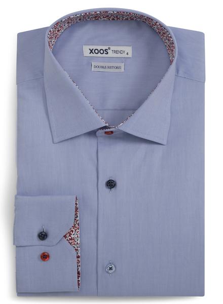 XOOS Chemise NON CINTRÉE bleue doublure en imprimé fleuri et boutons coloré (Double Retors)
