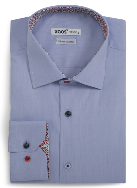 XOOS Men's CLASSIC-FIT BLUE dress shirt floral lining and matching colored buttons (Double Twisted)