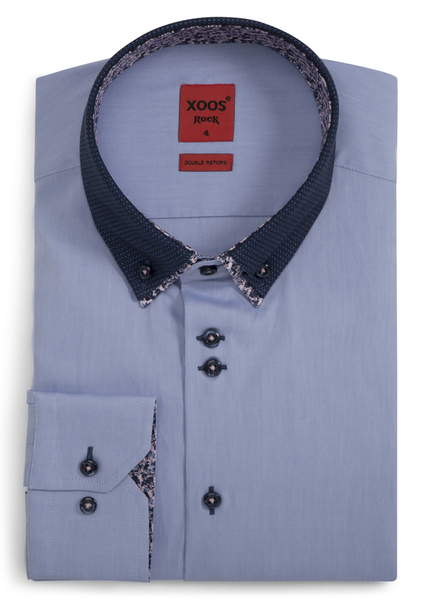 XOOS Men's CLASSIC-FIT blue shirt double button-down collar with floral lining (Double Twisted)