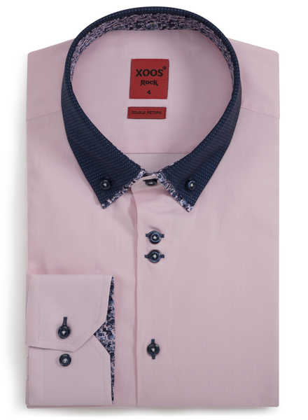 XOOS Men's CLASSIC-FIT pink shirt double button-down collar with floral lining (Double Twisted)
