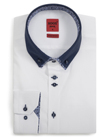 XOOS Men's CLASSIC-FIT white shirt double button-down collar with floral lining (Double Twisted)
