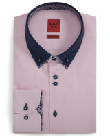 XOOS Men's pink fitted shirt double button-down collar with floral lining