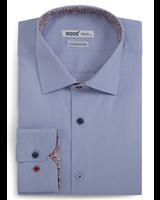 XOOS Chemise homme bleue doublure en imprimé fleuri et boutons colorés (Double Retors)