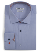 XOOS Men's blue fitted dress shirt floral lining and matching colored buttons (Double Twisted)
