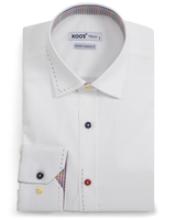XOOS Men's white fitted dress shirt checkeredl lining and matching colored buttons (Double Twisted)