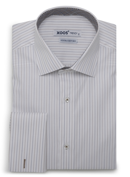 XOOS Men's fine striped fitted dress shirt with French cuffs and Prince of Wales lining (Double Twisted)