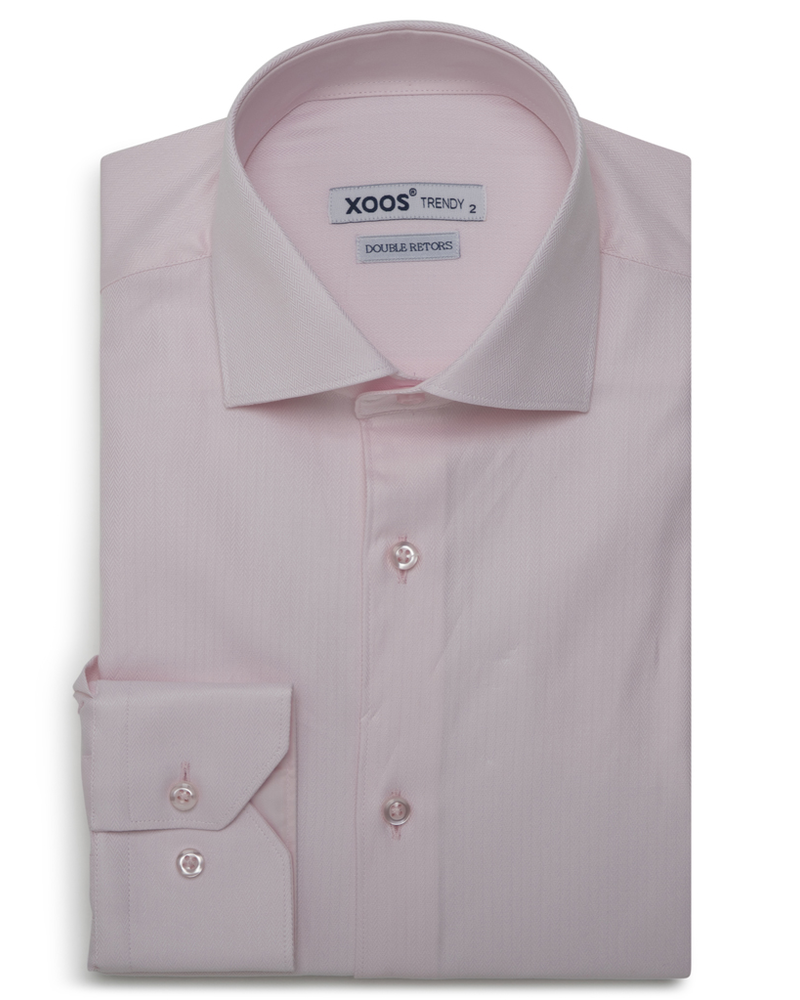 XOOS Men's plain pink fitted dress shirt in chevron (Double Twisted)