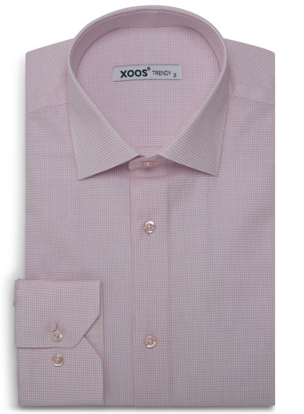 XOOS Men's pink micro checks fitted dress shirt