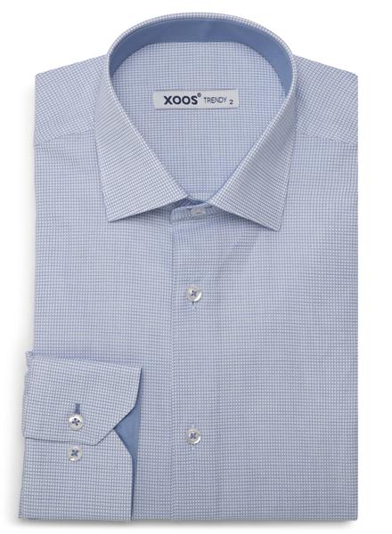 XOOS Men's blue micro checks fitted dress shirt
