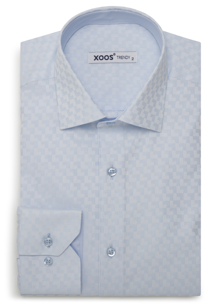 XOOS Men's blue tone on tone chekerboard fitted dress shirt
