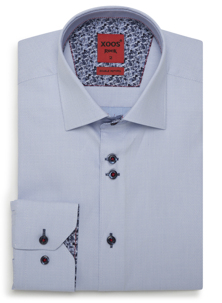 XOOS Men's light blue fitted dress shirt floral lining and double buttons (Double Twisted)