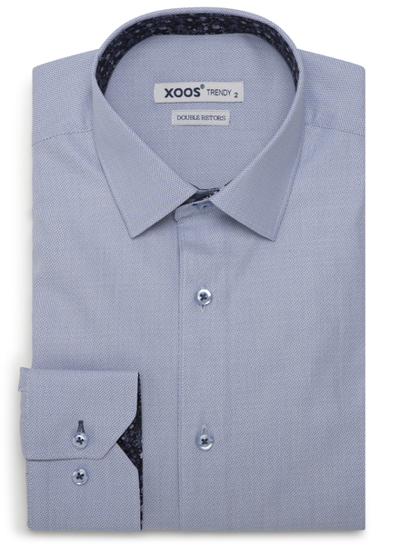 XOOS Men's light blue fitted dress shirt floral lining (Double Twisted)
