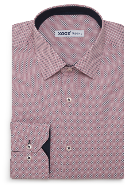 XOOS Men's red fitted dress shirt with printed patterns