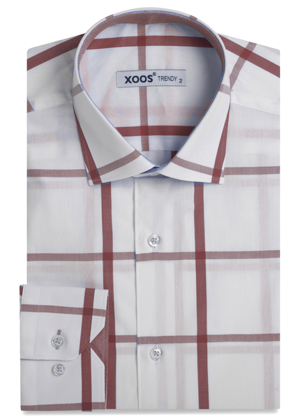 XOOS Men's white dress shirt with red checks (Double twisted)