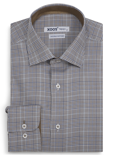 XOOS Men's gray taupe Prince of Wales fitted dress shirt (Double Twisted)