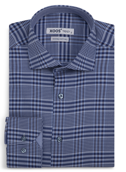XOOS Men's blue Prince of Wales fitted dress shirt (Double Twisted)