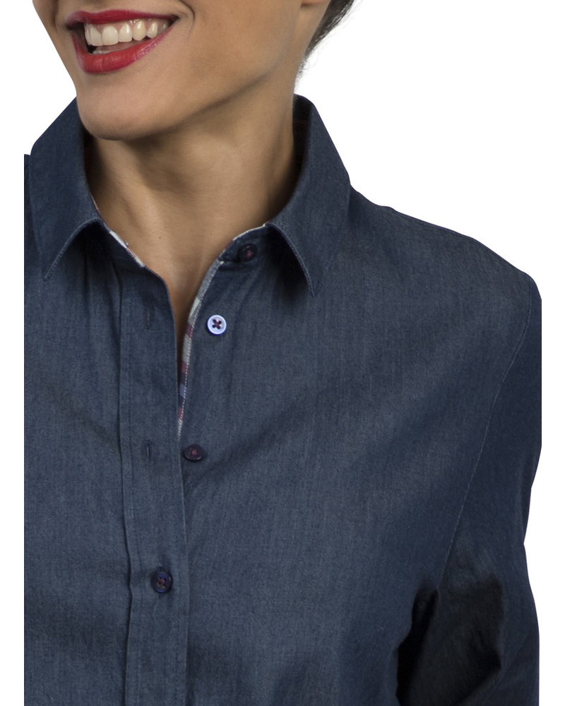 XOOS Celia x XOOS collaboration : Light denim tunic tartan lining