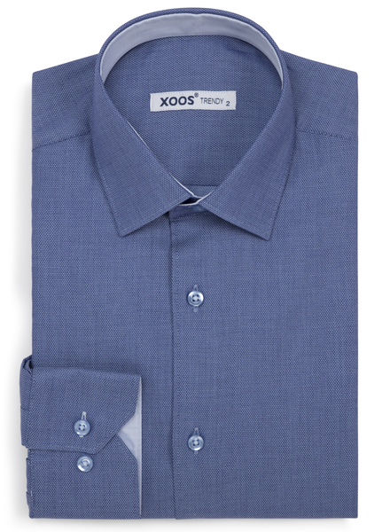 XOOS Men's blue woven cotton fitted dress shirt with lightblue lining(Double Twisted)