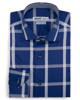 XOOS Men's blue indigo blue large checkered fitted dress shirt (Double Twisted)