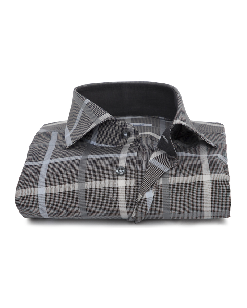 XOOS Men's gray large checkered fitted dress shirt