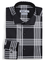 XOOS Men's black large checkered fitted dress shirt (Double Twisted)