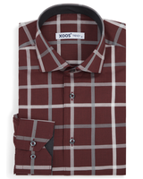 XOOS Men's burgundy large checkered fitted dress shirt