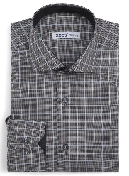XOOS Men's gray checkered fitted dress shirt