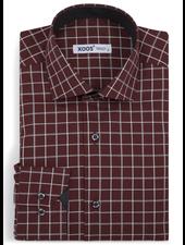 XOOS Men's burgundy checkered fitted dress shirt